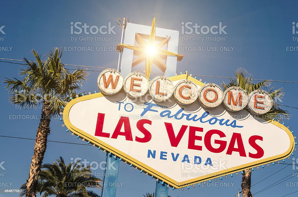Las Vegas welcome sign on a bright sunny day royalty-free stock photo
