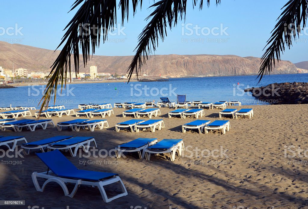 Las vistas beach in costa Adeje Tenerife,Canary Islands stock photo