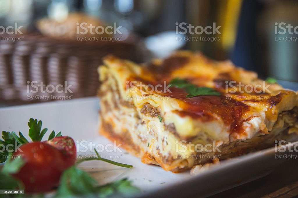 Lasagna closeup stock photo