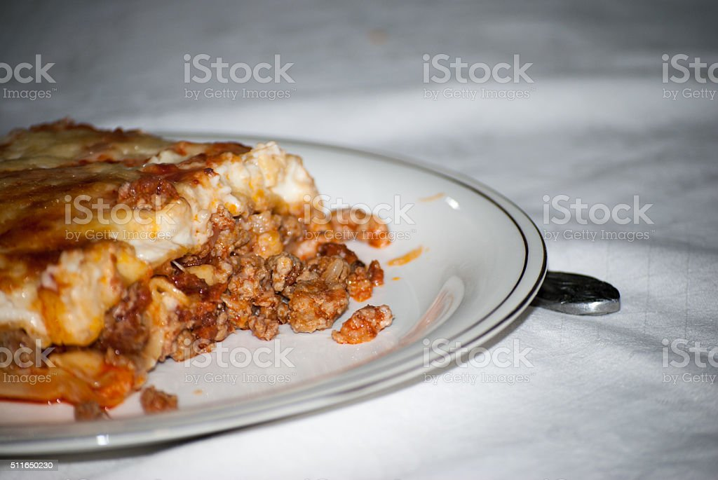 Lasagna is cooked and served stock photo