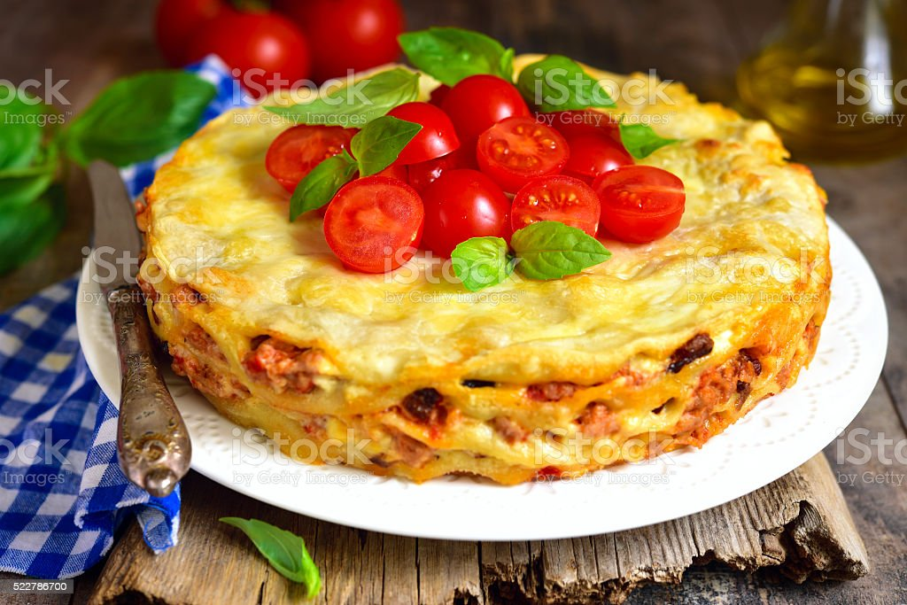 Lasagna pie with chicken and dried mushrooms. stock photo