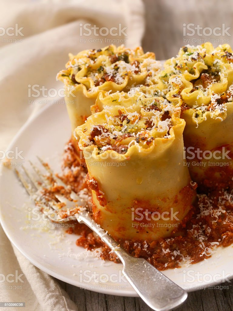 Lasagna rolls with Beef, Spinach and Ricotta stock photo