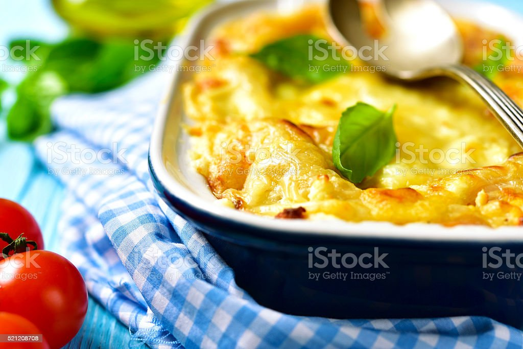 Lasagna - traditional dish of italian cuisine. stock photo