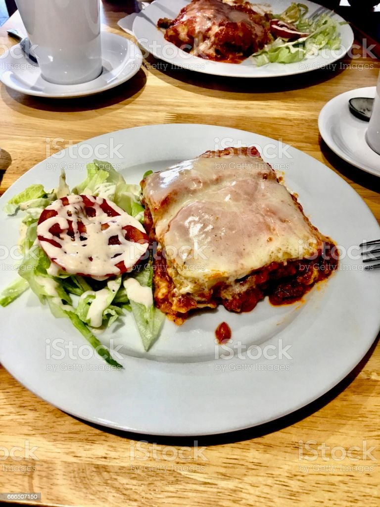 Lasagne on the plate stock photo