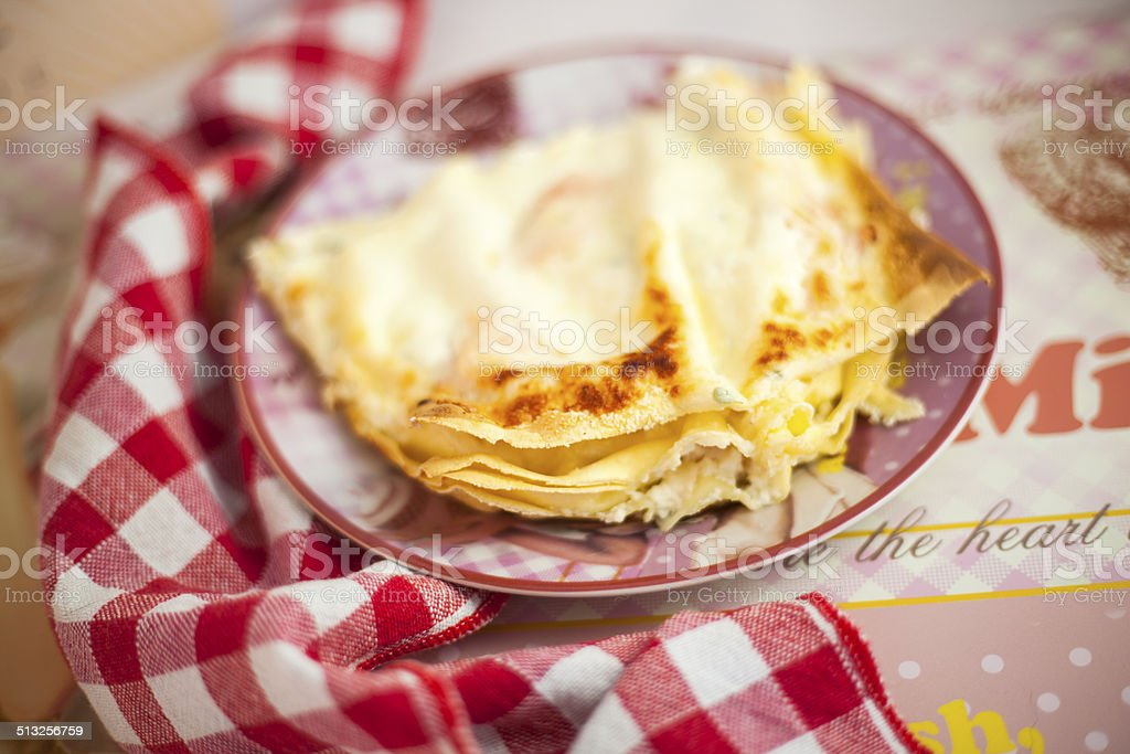 Lasagne with salmon and cheese stock photo