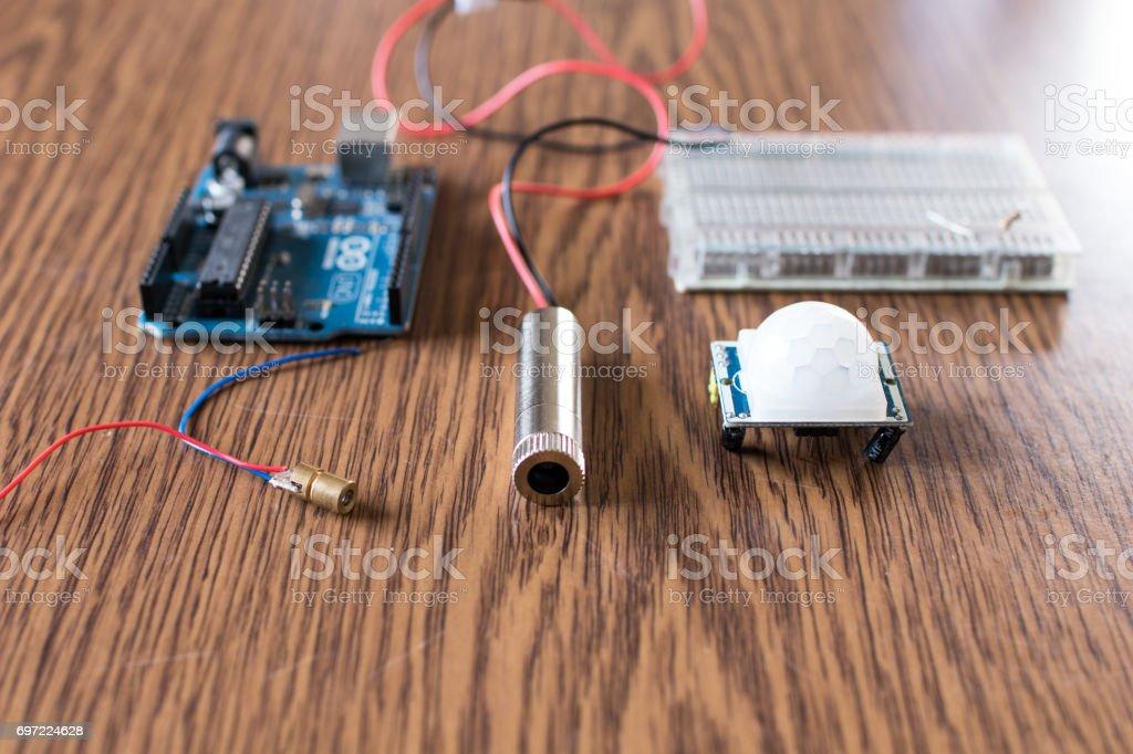 Laser alarm homemade circuit stock photo