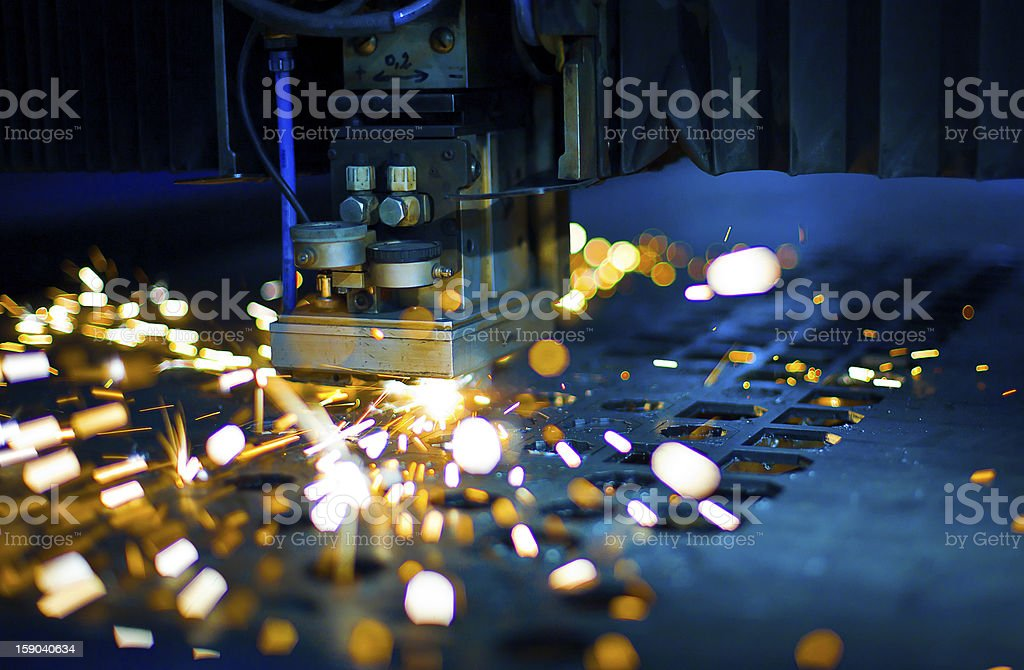Laser cutting close up stock photo
