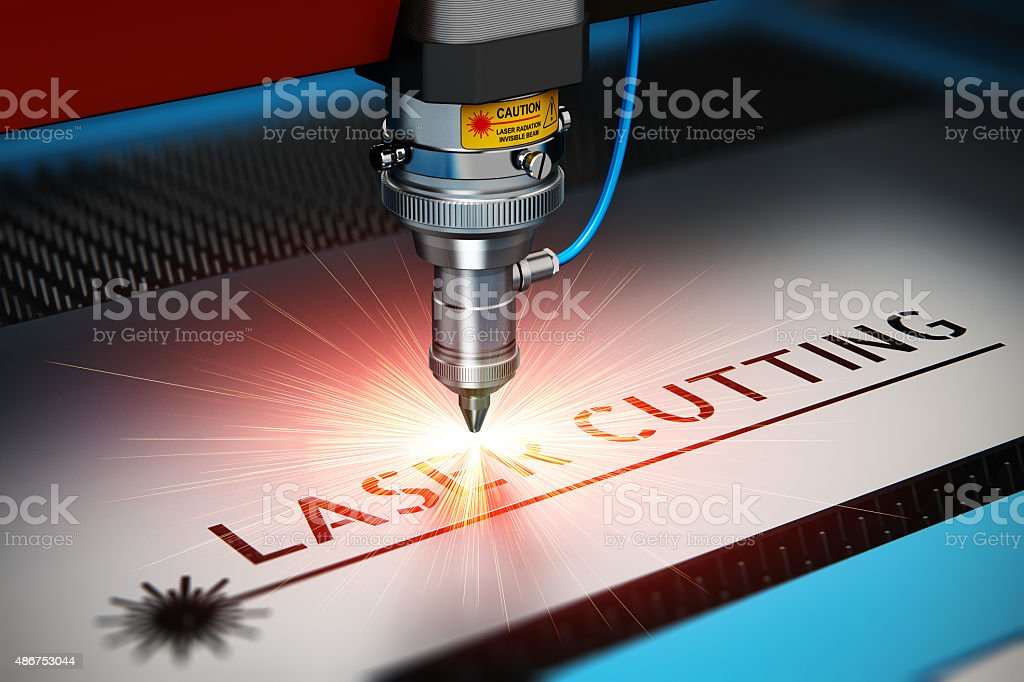 Laser cutting technology stock photo