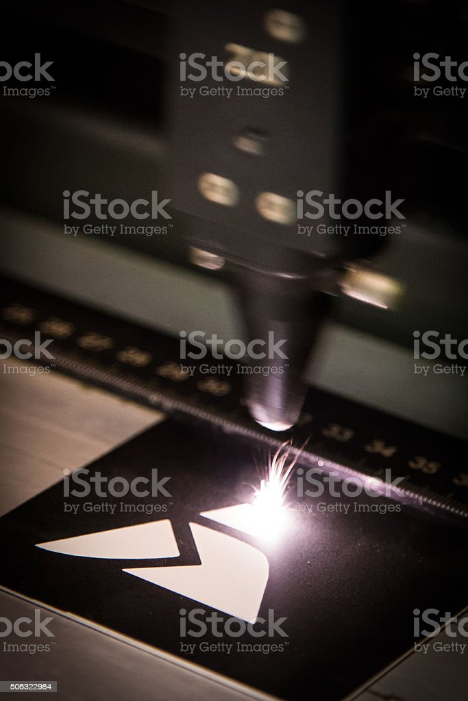 Laser engraving stock photo