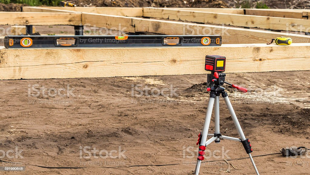 Laser level measurement tool stock photo