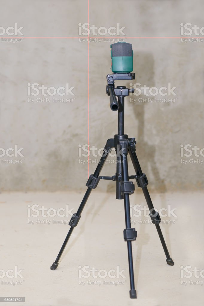 laser level on a tripod stock photo
