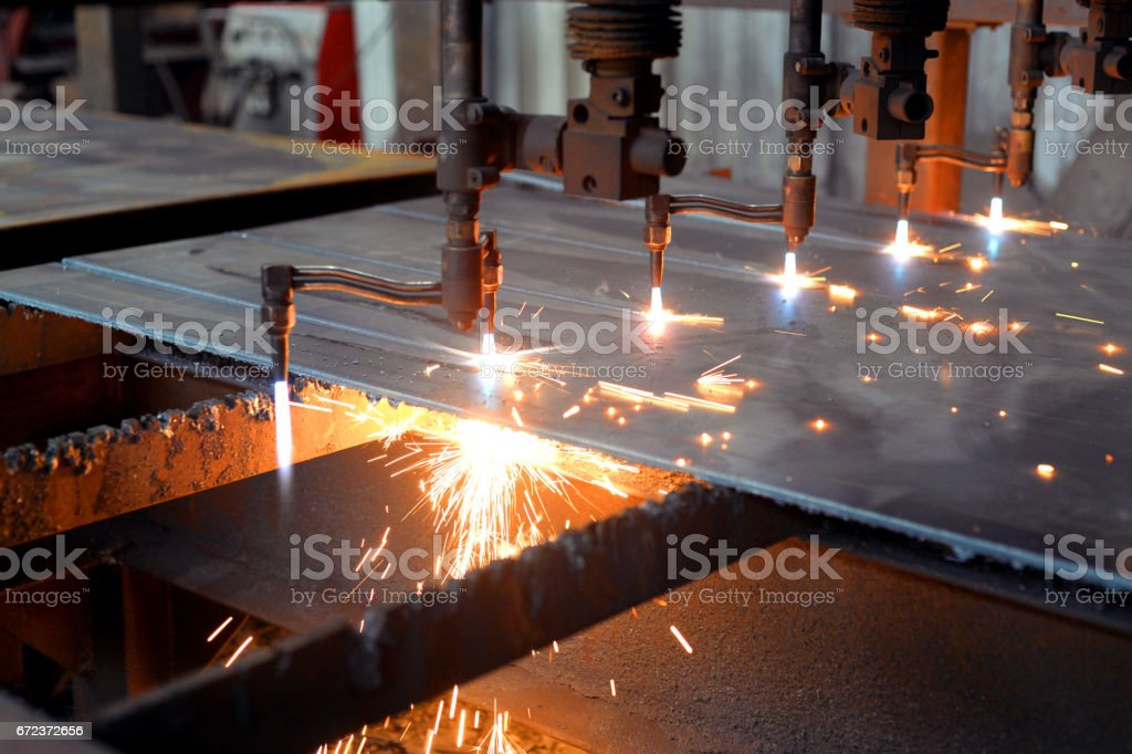 Laser machine in the factory stock photo