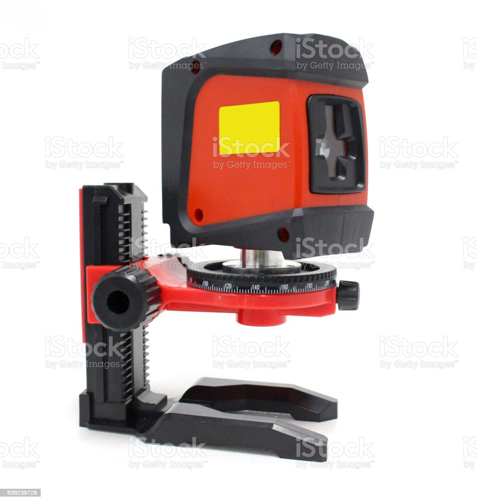 Laser measurement tool on white background stock photo