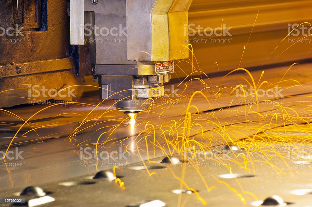 CNC laser metal cutting tool stock photo