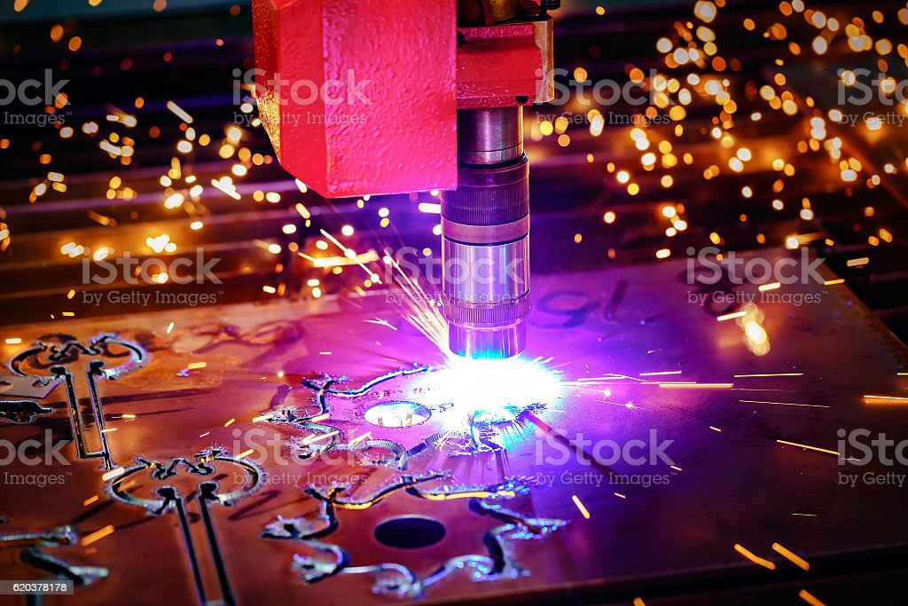 Laser plasma cutting of metal, modern industrial technology. stock photo