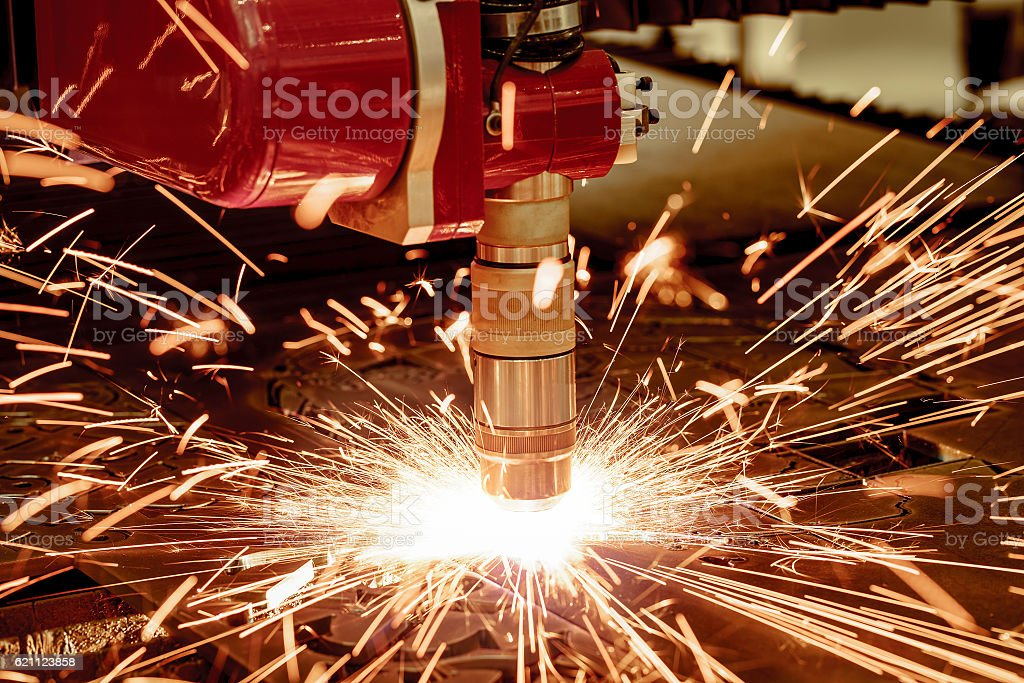 CNC Laser plasma cutting of metal, modern industrial technology. stock photo