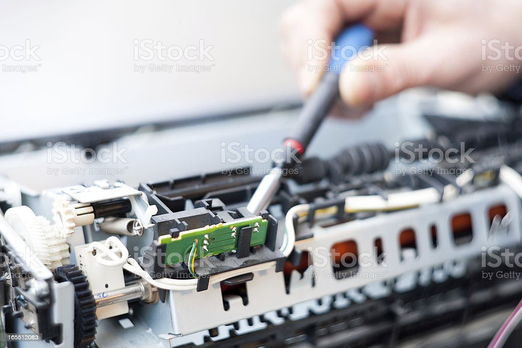 Laser Printer Repairman stock photo
