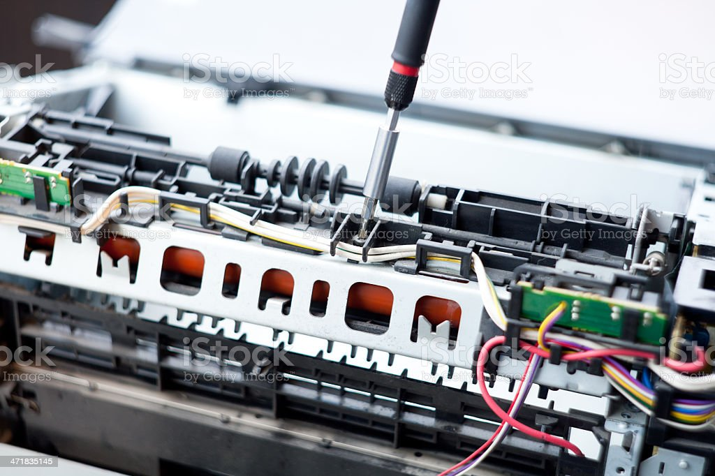 Laser Printer Repairman stock photo