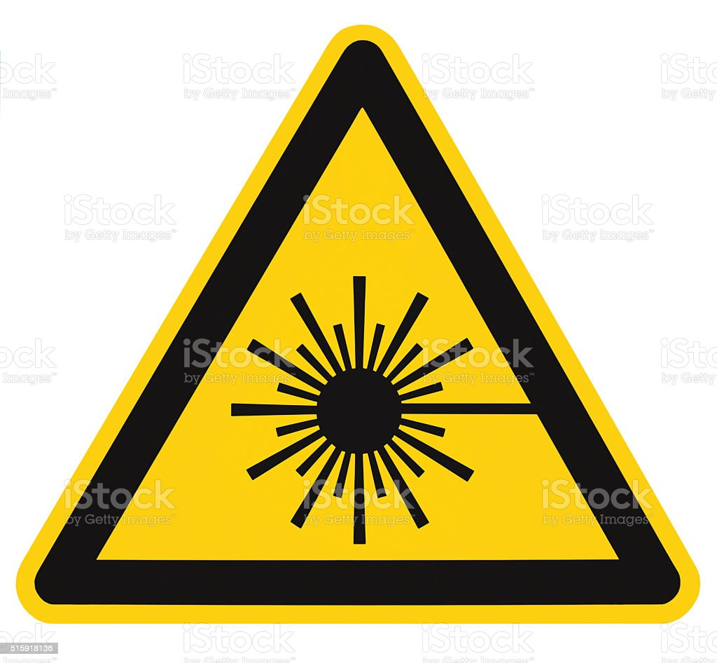 Laser radiation hazard safety danger warning sign label sticker isolated stock photo