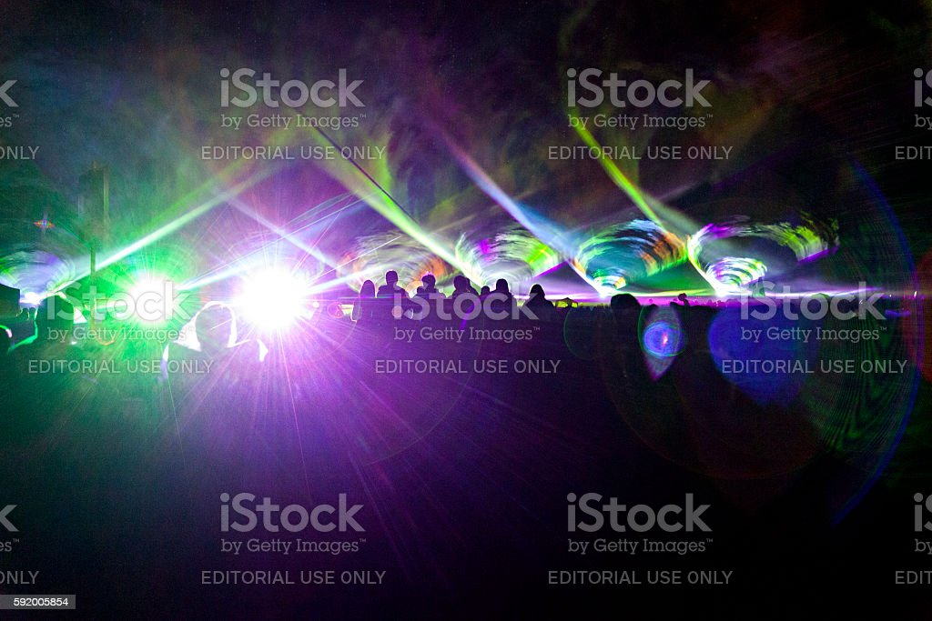 Laser show crowd stock photo