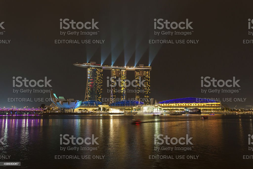 Laser show on Marina Bay Sands, Singapore royalty-free stock photo