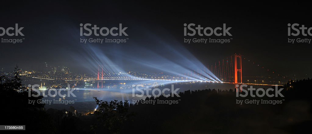 Laser Show over Bosphorus Bridge royalty-free stock photo