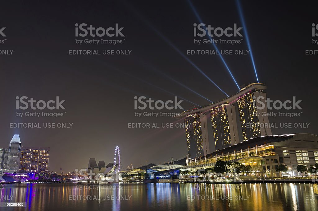 Laser show performed at Marina Bay Sands royalty-free stock photo