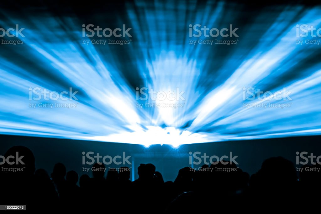 Laser show rays in blue colors stock photo