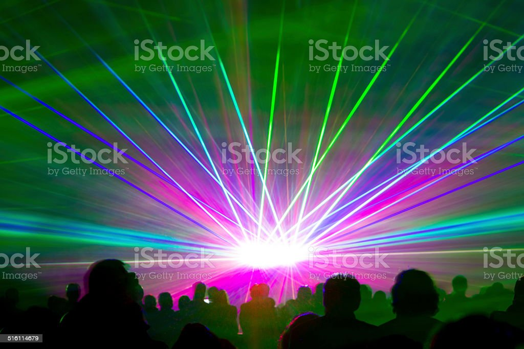 Laser show rays stock photo