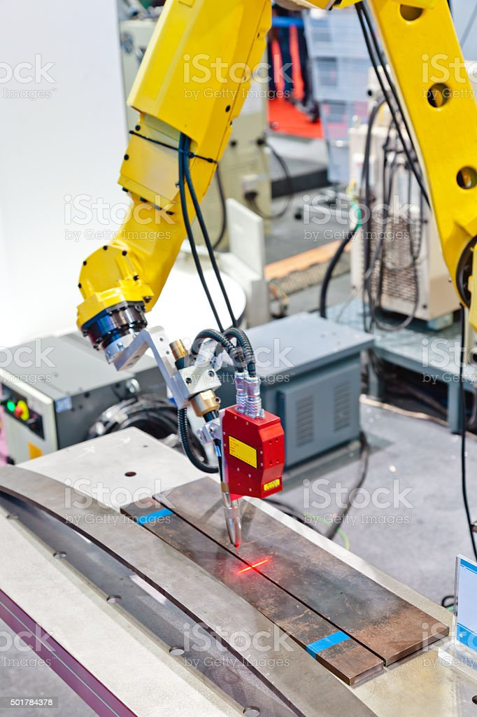 laser visual seam tracking system stock photo