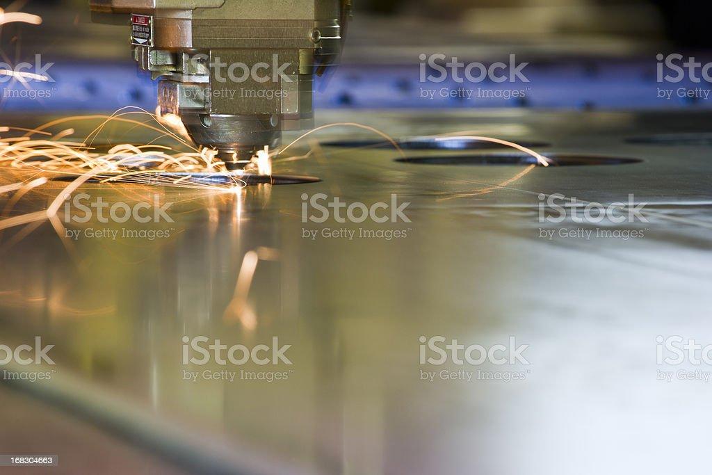 CNC laser-cutting machine tool cutting steel royalty-free stock photo