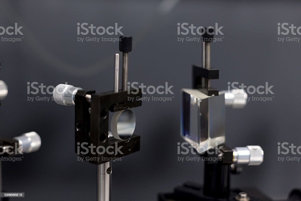 lasers in the laboratory stock photo