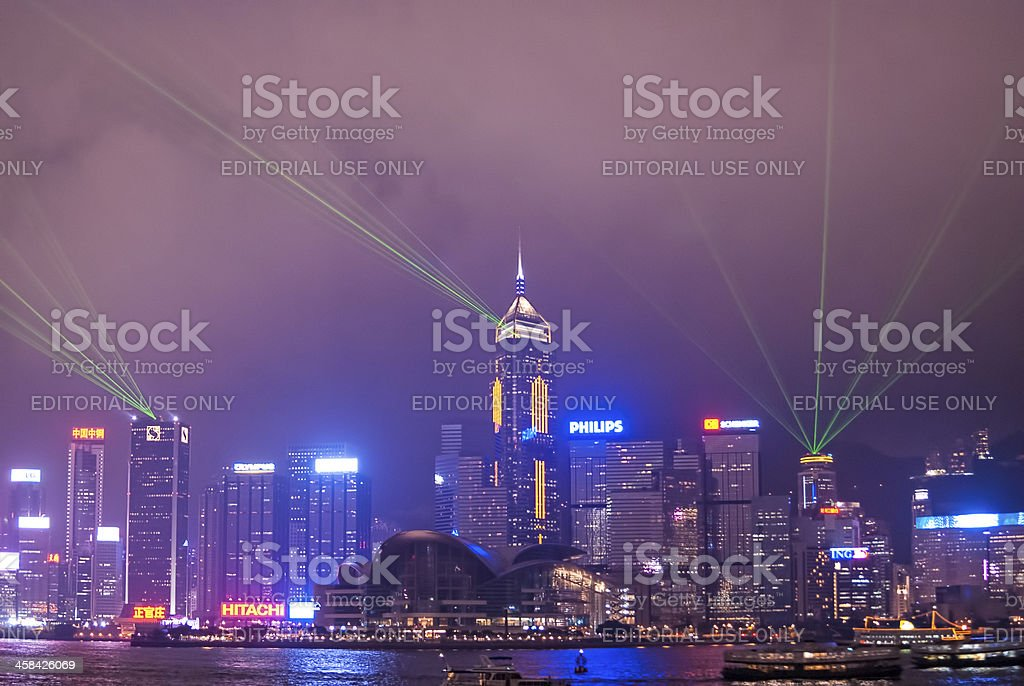 Lasers of Hong Kong royalty-free stock photo
