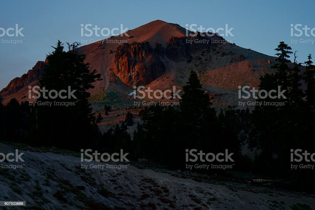Lassen Peak Alpenglow stock photo