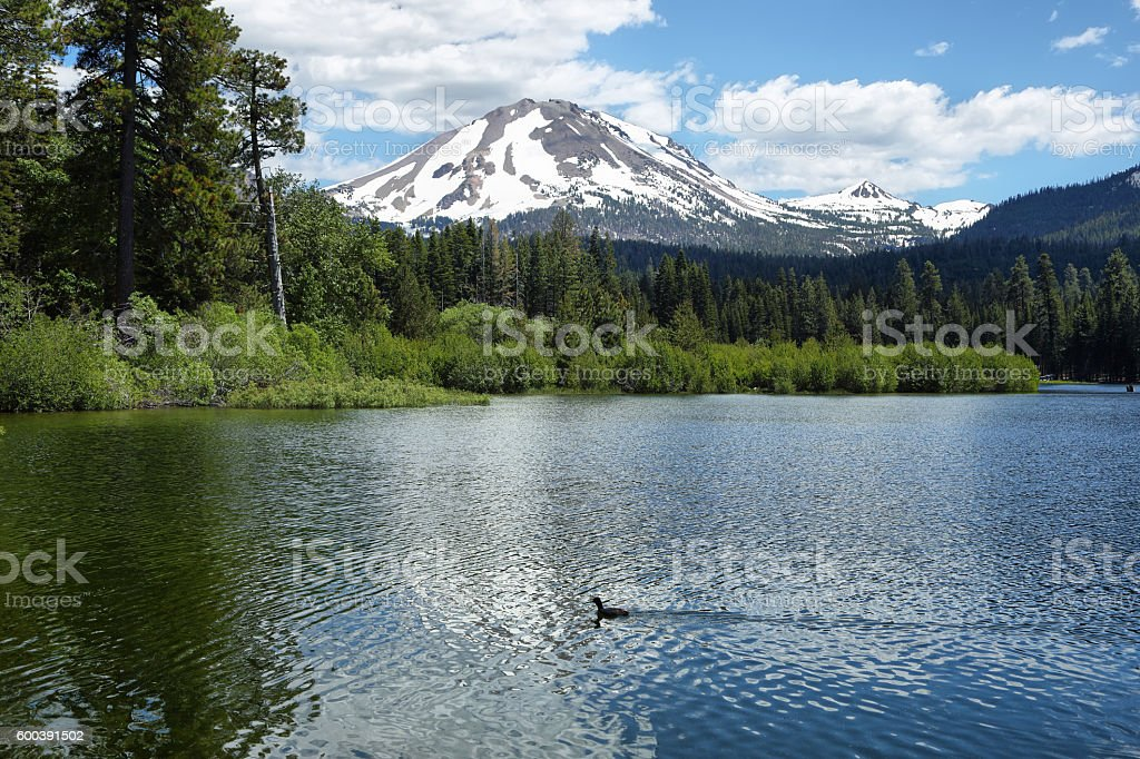 Lassen Peak and Manzanita Lake at Lassen Volcanic National Park stock photo