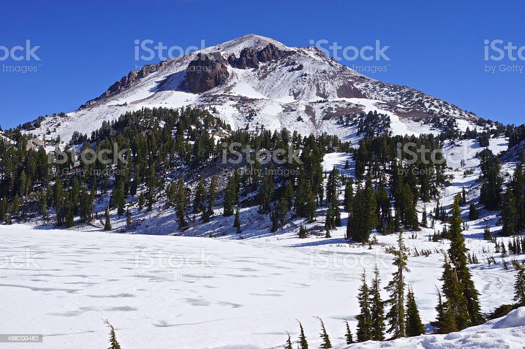 Lassen Peak Icy stock photo