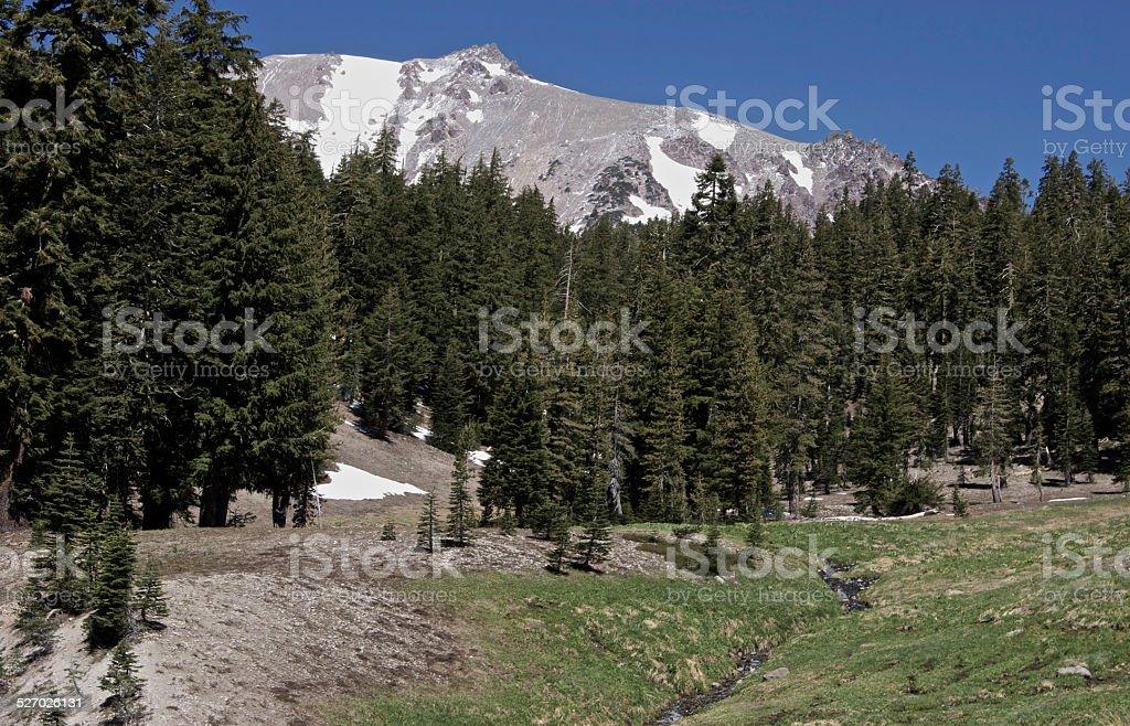Lassen Peak Rare Angle stock photo