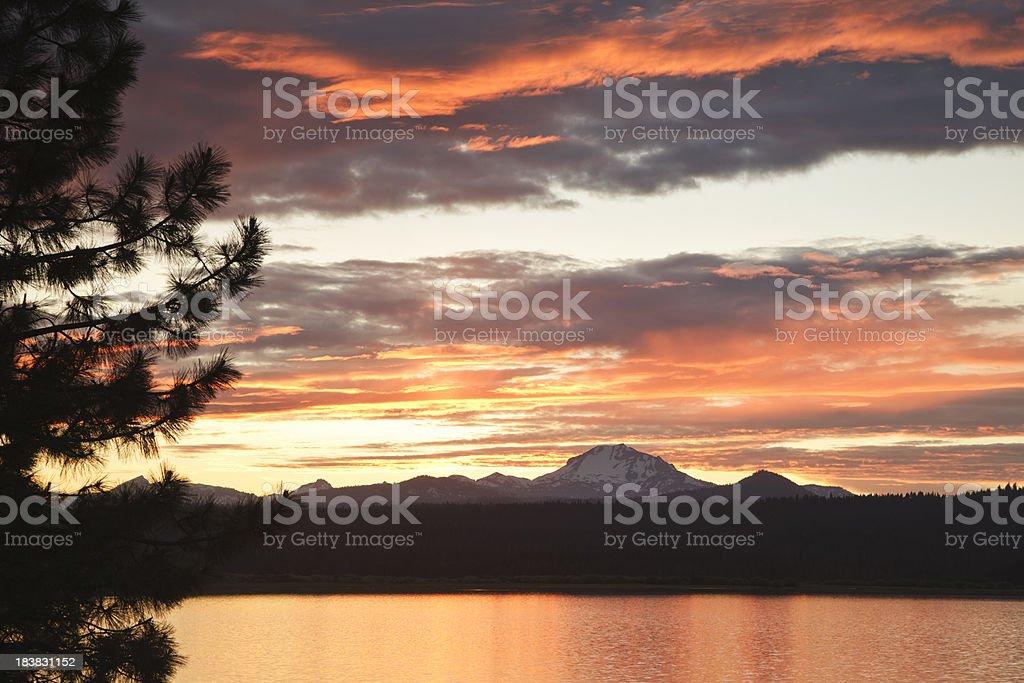 Lassen Peak sunset on Lake Almanor royalty-free stock photo