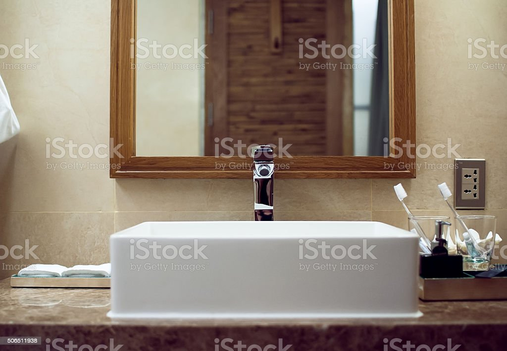 Сlassic bathroom interior using natural materials front view stock photo