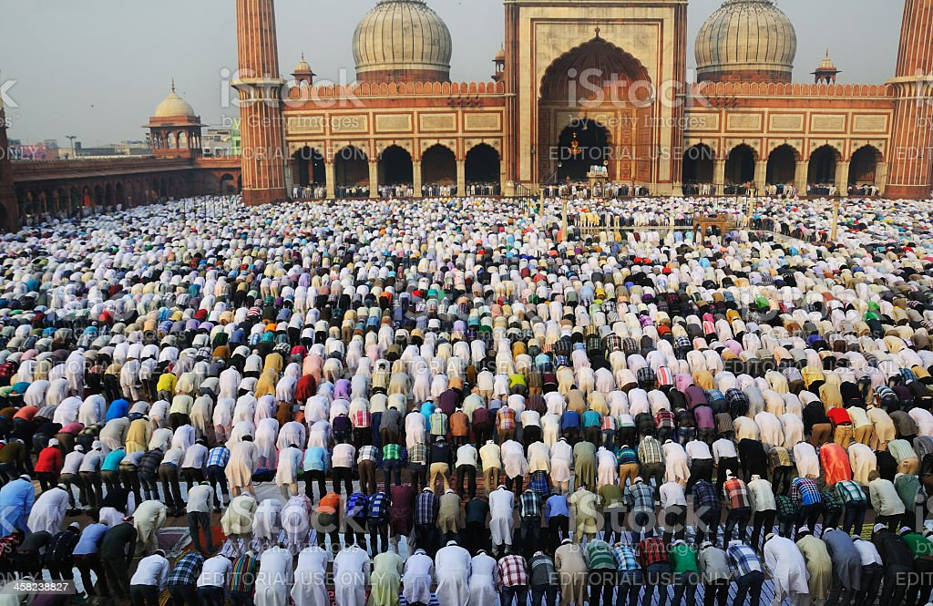 Last day of Ramadan at Jama Masjid in Old Delhi. stock photo