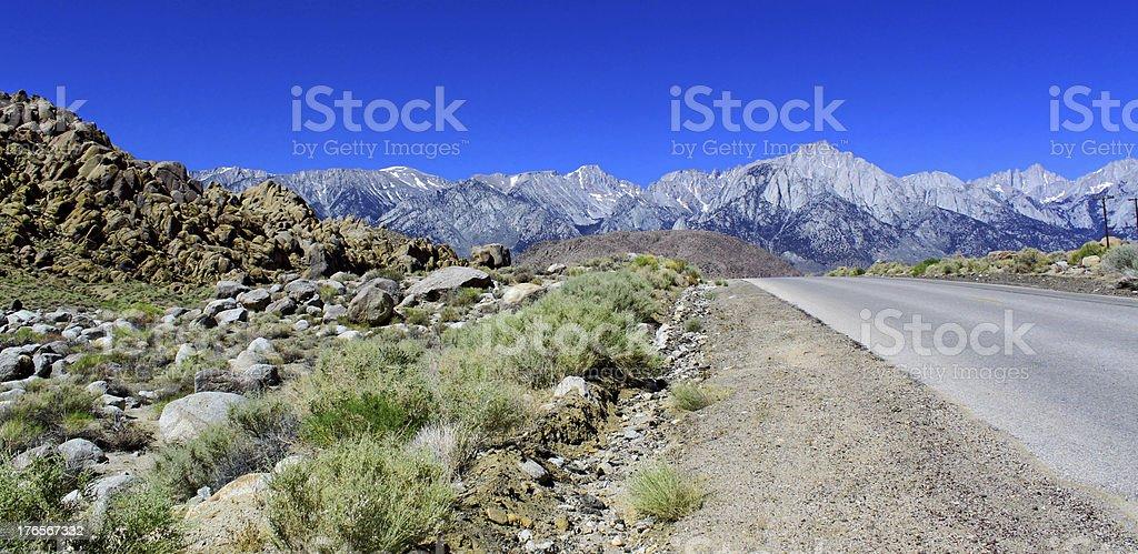 Last desert view before mountains, Lone Pine, California, USA stock photo