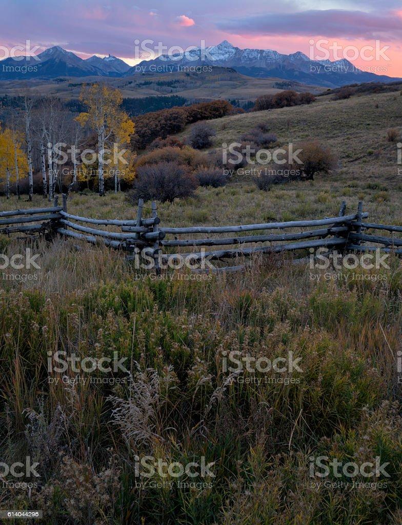 Last Dollar Road Sunset Colorado stock photo