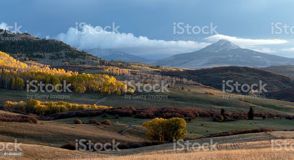 Last Dollar Sunset Panorama Colorado stock photo