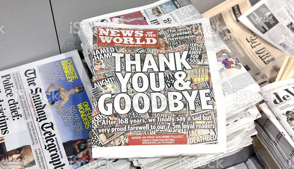 Last edition News Of The World stock photo