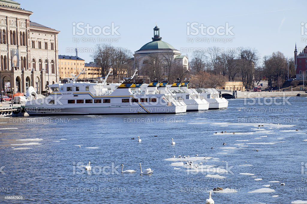 Last ice leaving Stockholm for the spring. stock photo