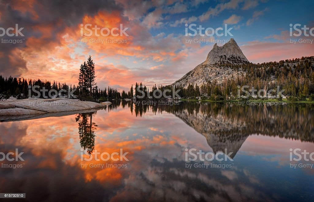 Last Light at Cathedral Lake stock photo