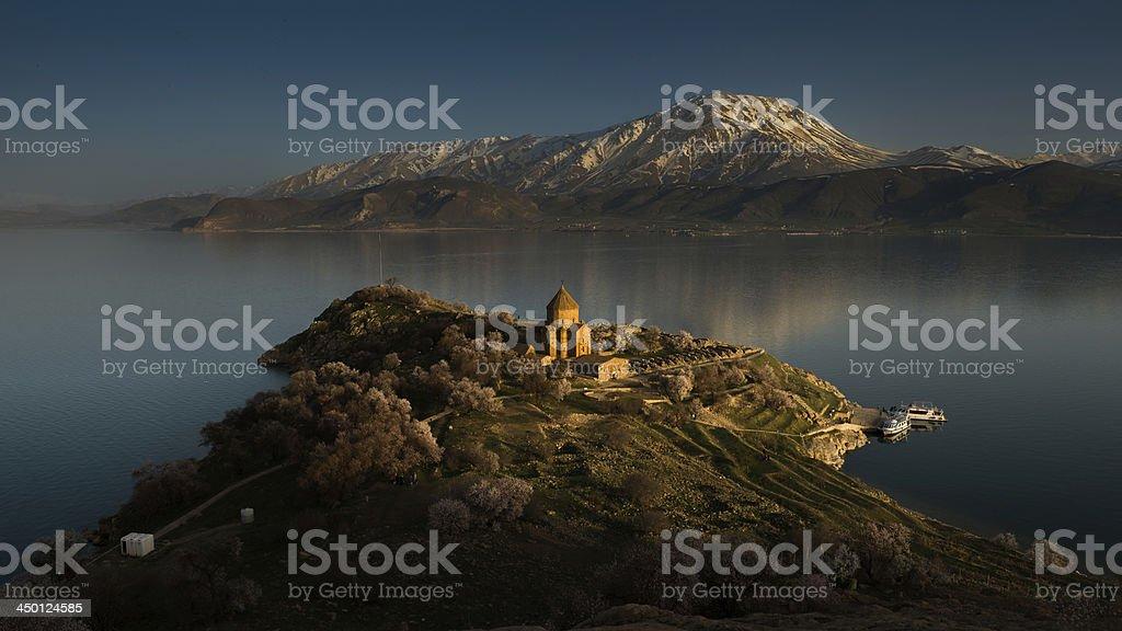 Last light at The Armenian Church, Turkey stock photo