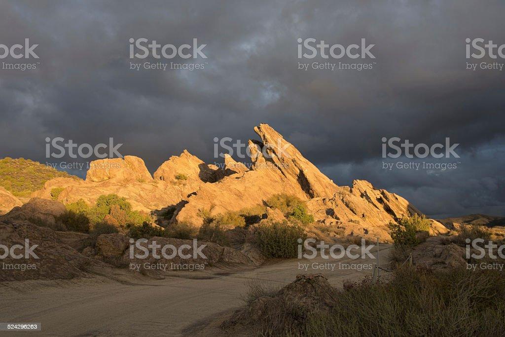 Last light on Vasquez Rocks stock photo