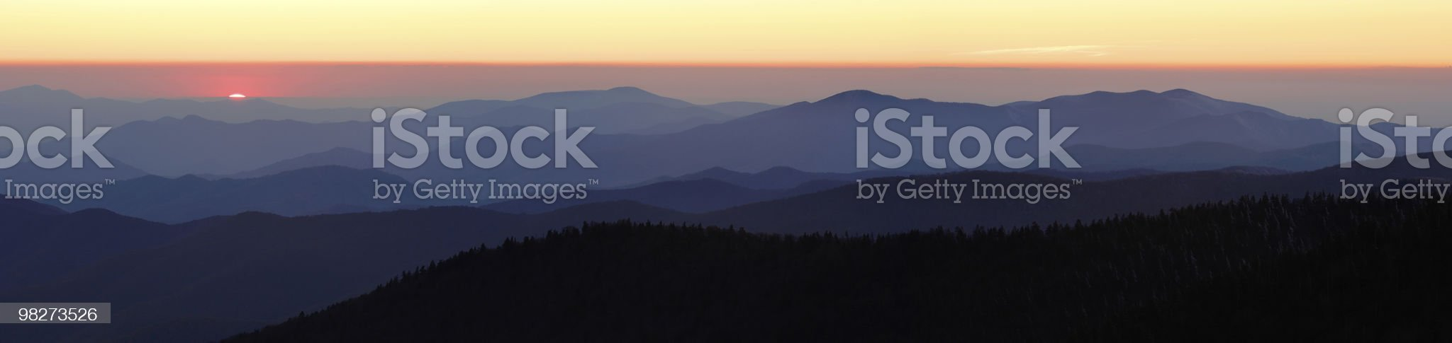 Last Light over Mountain Peaks royalty-free stock photo