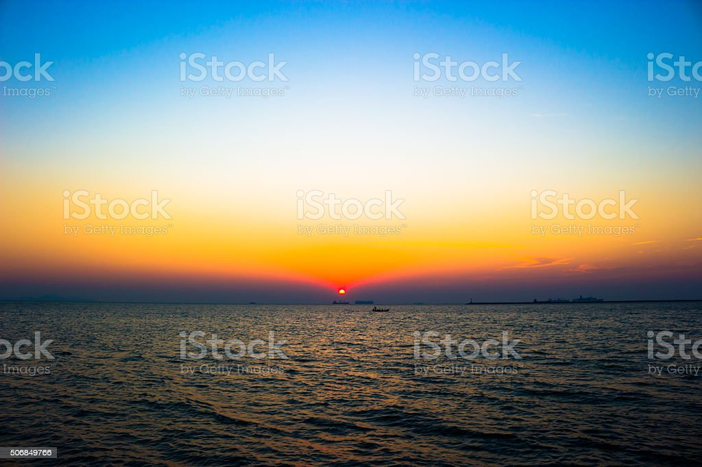 Last light the horizon sea stock photo